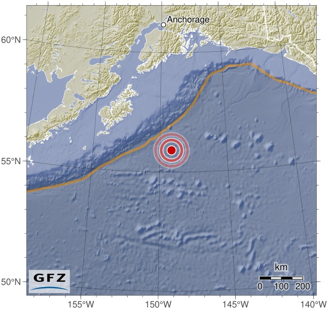 Gulf Of Alaska: Magnitude 8.0 earthquake - 281km SE of Kodiak, Alaska (2018-01-23 09:31:41 UTC)Summary:  Time of event: 2018-01-23 09:31:41 UTC Location: Gulf Of Alaska, 281km SE of Kodiak, Alaska Depth: Between 10.0 and 30.0 km (5 reports, Median: 20.0 km, Avg.: 20.0 km)    Magnitude:   Max. Reported: 8.0 Min. Reported: 7.7 Mean: 7.9 Median:7.9 (Calculated out of 5 reports.)   Population within 100 km: None  Maps:   Interactive map (by the USGS) Static location map (by Geofon Potsdam)     Tsunami information:   Tsunami Bulletins issued about this event Tsunami simulation and forecast by GDACS   Largest predicted waves, ordered by height  Provided by GDACS, copyright European Union    Place Max. Wave Height Arrival of Tsunami Population Estimate    Nunamiut, United States 0.53m (1.74ft) 2018-01-23 10:35:43 UTC (2018-01-23 01:35:43 America/Anchorage) n/a   Kaguyak, United States 0.44m (1.44ft) 2018-01-23 10:33:43 UTC (2018-01-23 01:33:43 America/Anchorage) n/a   Cobol, United States 0.43m (1.41ft) 2018-01-23 10:53:43 UTC (2018-01-23 01:53:43 America/Sitka) n/a   Yakutat, United States 0.41m (1.35ft) 2018-01-23 10:57:43 UTC (2018-01-23 01:57:43 America/Yakutat) n/a   Port_Lions, United States 0.41m (1.35ft) 2018-01-23 11:11:43 UTC (2018-01-23 02:11:43 America/Anchorage) n/a    Full location list    External Event Pages:   USGS Geofon Potsdam EMSC GDACS USP GDACS Media Analysis   Data sources:   USGS Geofon Potsdam EMSC GDACS USP     If you live in an area that could potentially be affected by this event, do not rely on this data, as it may be erroneous and/or out of date. Instead, please contact trustworthy local sources of information. Seriously - your life may depend on getting this right, so don't trust some random stuff on reddit!  I am a bot, and this was compiled and posted automatically. For questions and comments, please contact my handler, /u/simplequark.