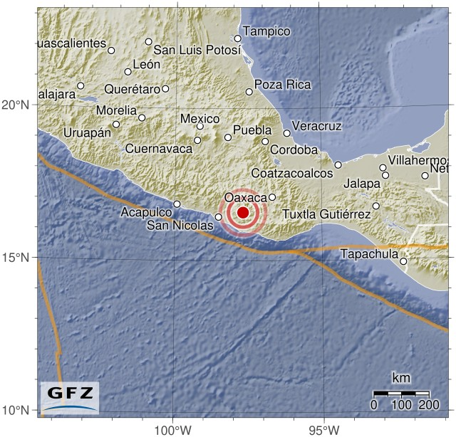 Magnitude 7.0 earthquake - Oaxaca, Mexico - 4km S of Pinotepa de Don Luis, Mexico (2018-02-16 23:39:37 UTC)Summary:  Time of event: 2018-02-16 23:39:37 UTC (2018-02-16 17:39:37 America/Mexico_City) Location: Oaxaca, Mexico, 4km S of Pinotepa de Don Luis, Mexico Depth: Between 0.0 and 24.6 km (5 reports, Median: 10.0 km, Avg.: 13.7 km)    Magnitude:   Max. Reported: 7.5 Min. Reported: 7.2 Mean: 7.3 Median:7.2 (Calculated out of 5 reports.)   Population within 100 km: approx. 1104518 people  Maps:   Interactive map (by the USGS) Static location map (by Geofon Potsdam)     External Event Pages:   USGS Geofon Potsdam EMSC USP GDACS GDACS Media Analysis   Data sources:   USGS Geofon Potsdam EMSC USP GDACS     If you live in an area that could potentially be affected by this event, do not rely on this data, as it may be erroneous and/or out of date. Instead, please contact trustworthy local sources of information. Seriously - your life may depend on getting this right, so don't trust some random stuff on reddit!  I am a bot, and this was compiled and posted automatically. For questions and comments, please contact my handler, /u/simplequark.