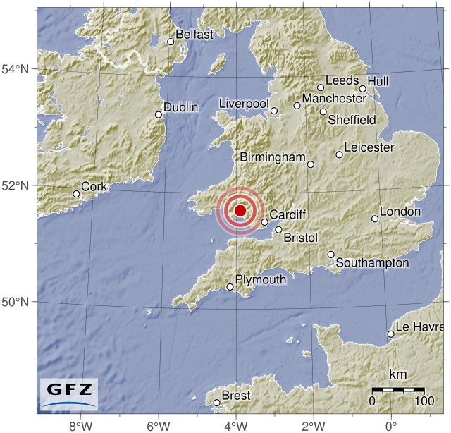 Magnitude 5.0 earthquake - United Kingdom (2018-02-17 14:31:06 UTC)Summary:  Time of event: 2018-02-17 14:31:06 UTC (2018-02-17 14:31:06 Europe/London) Location: United Kingdom, 3km NE of Clydach, United Kingdom Depth: Between 10.0 and 11.0 km (4 reports, Median: 10.0 km, Avg.: 10.3 km)    Magnitude:   Max. Reported: 4.7 Min. Reported: 3.9 Mean: 4.4 Median:4.45 (Calculated out of 4 reports.)   Population within 100 km: approx. 4102247 people  Maps:   Static location map (by Geofon Potsdam) Interactive map (by the USGS)     External Event Pages:   EMSC Geofon Potsdam GDACS USGS GDACS Media Analysis   Data sources:   EMSC Geofon Potsdam GDACS USGS     If you live in an area that could potentially be affected by this event, do not rely on this data, as it may be erroneous and/or out of date. Instead, please contact trustworthy local sources of information. Seriously - your life may depend on getting this right, so don't trust some random stuff on reddit!  I am a bot, and this was compiled and posted automatically. For questions and comments, please contact my handler, /u/simplequark.