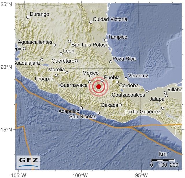 Fuerte y destructivo terremoto sacude México Gfz2017skgl